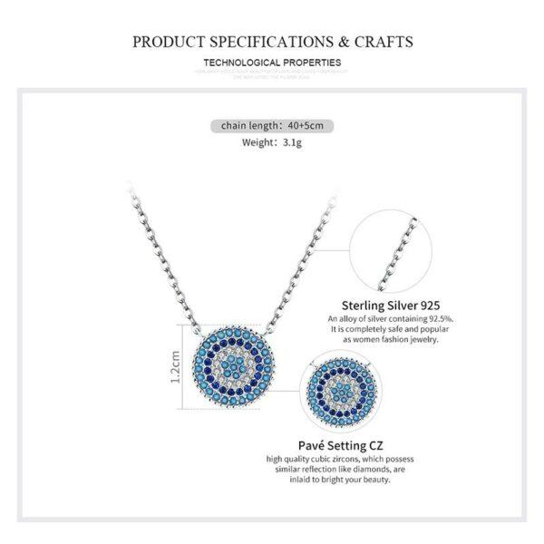 Romantic Zircon Blue Eyes Necklaces 925 Sterling Silver
