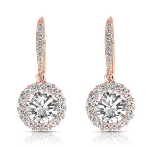 Rose Gold Sparkle Drop Dangle Round Earrings 925 Sterling Silver