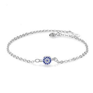 Round Blue Eye Cubic Zirconia Bracelet 925 Sterling Silver