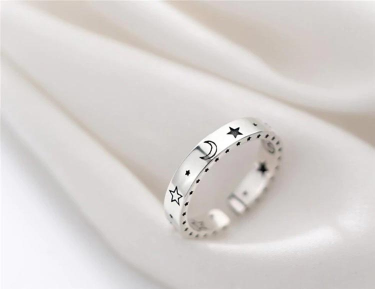 Shiny Moon Stars Adjustable Ring 925 Sterling Silver