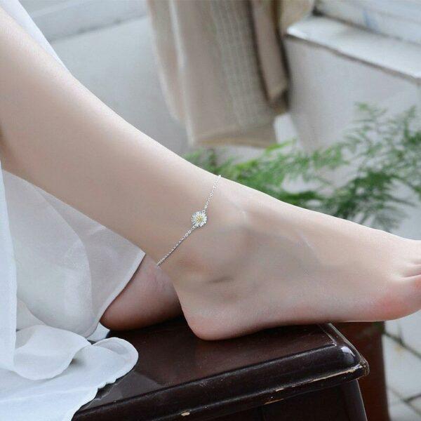 Simple Flower Anklet Anklet 925 Sterling Silver