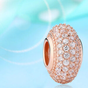 Spacer Crystal Bead Rose Gold 925 Sterling Silver Charms