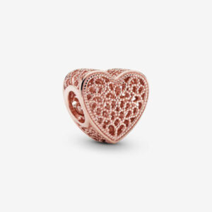 Sparkling Heart Bead Charms Rose Gold 925 Sterling Silver