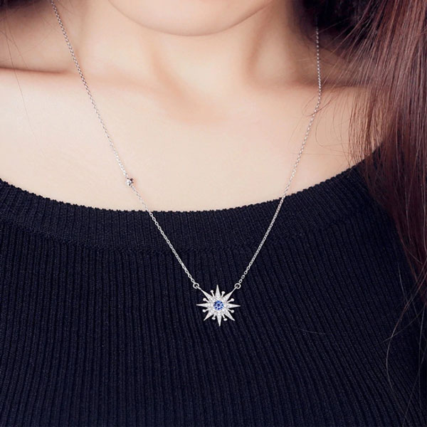 Sunflower Zircon Temperament Personality 925 Sterling Silver Necklace