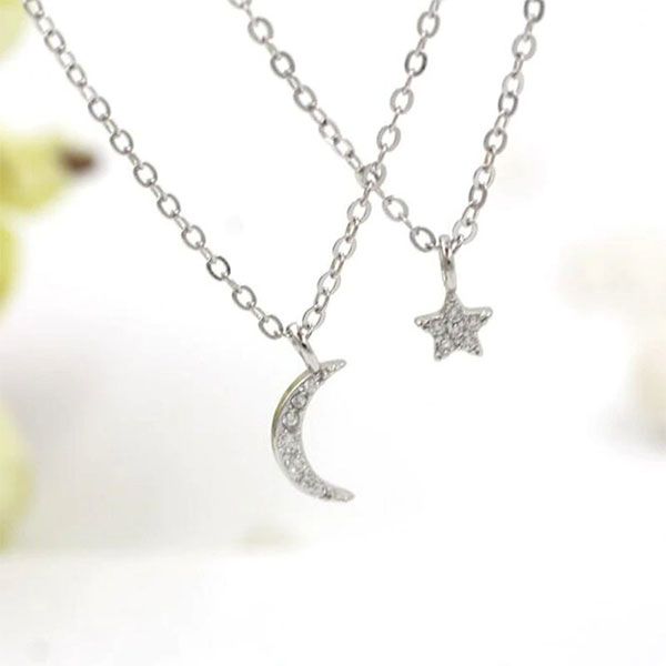 Trendy Double Layer Link Chain Star Moon Shape Crystal 925 Sterling Silver