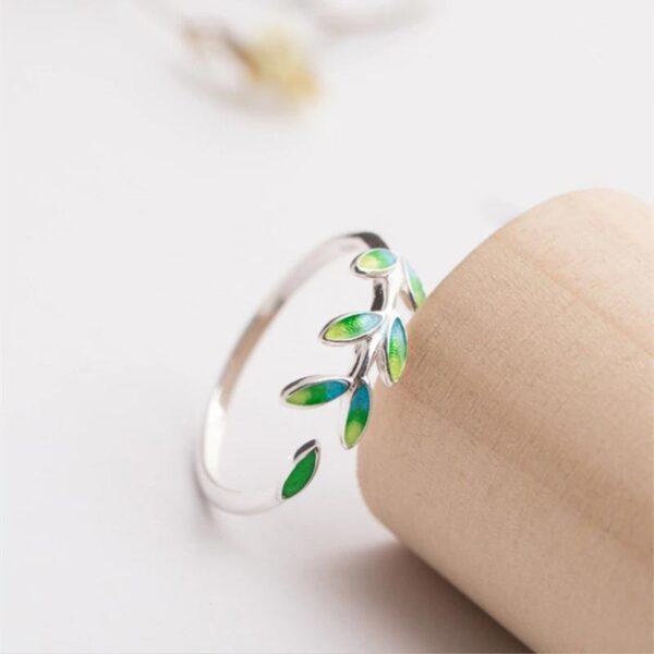 Trendy Leaf Adjustable Ring 925 Sterling Silver