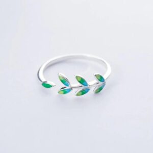 Trendy Leaf Adjustable Ring 925 Sterling Silver