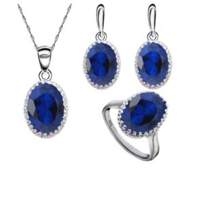 Triple Jewelry Set Round Created Blue Emerald