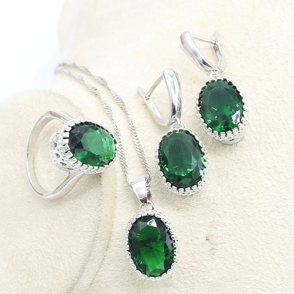 Triple Jewelry Set Round Created Emerald Earrings,Necklace & Rings 925 Sterling Silver