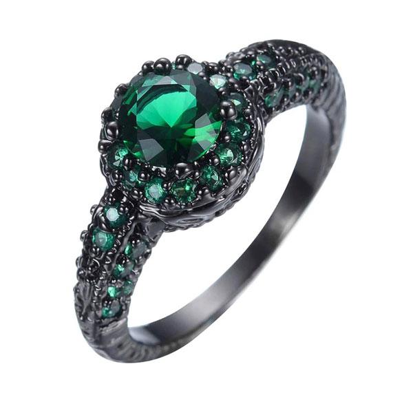 Vintage Round Emerald Bezel Ring Women 925 Sterling Silver