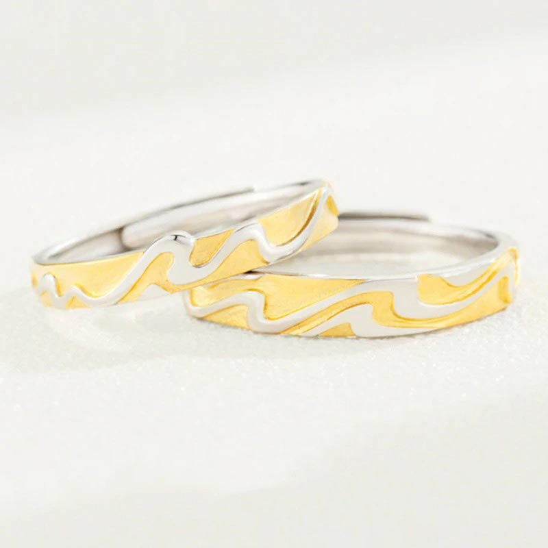 Yellow Wavy Adjustable Ring 925 Sterling Silver