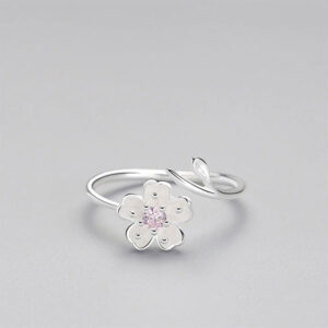Zircon Jewel Blossom Adjustable Ring 925 Sterling Silver